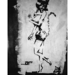 Street art girl stencil